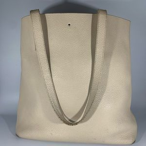 Kate Spade Leather Tote Bag Purse - light beige